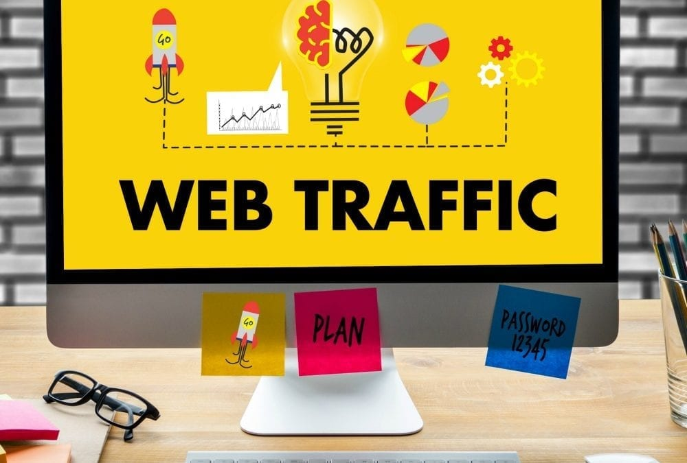 """computer monitor displaying words web traffic"""