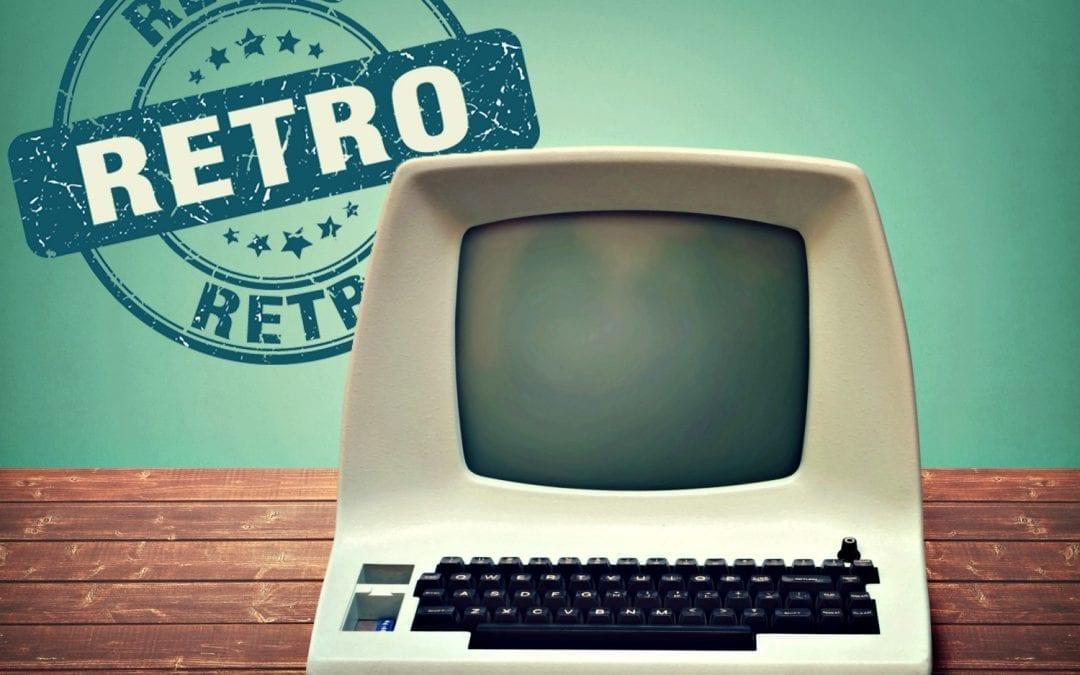 """retro computer on tabletop"""