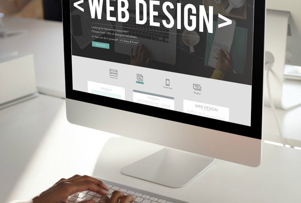 """image of a monitor displaying web design"""